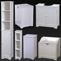 White Wood Bathroom Furniture Shelves Cabinet Laundry ...