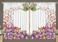 Flowers Kitchen CURTAIN PANEL Set Butterflies Watering Can ...