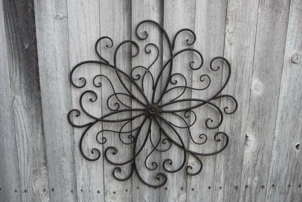 Metal SCROLL Swirl Flower Design Wall Art