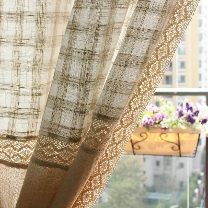 1 PC French Country Window Curtain Drapes Cotton Linen