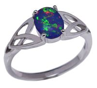 Australian Dark Blue Fire Opal Infinity Celtic Oval Cut ...