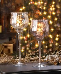 LARGE silver mercury glass Chalice candle cup holder ...