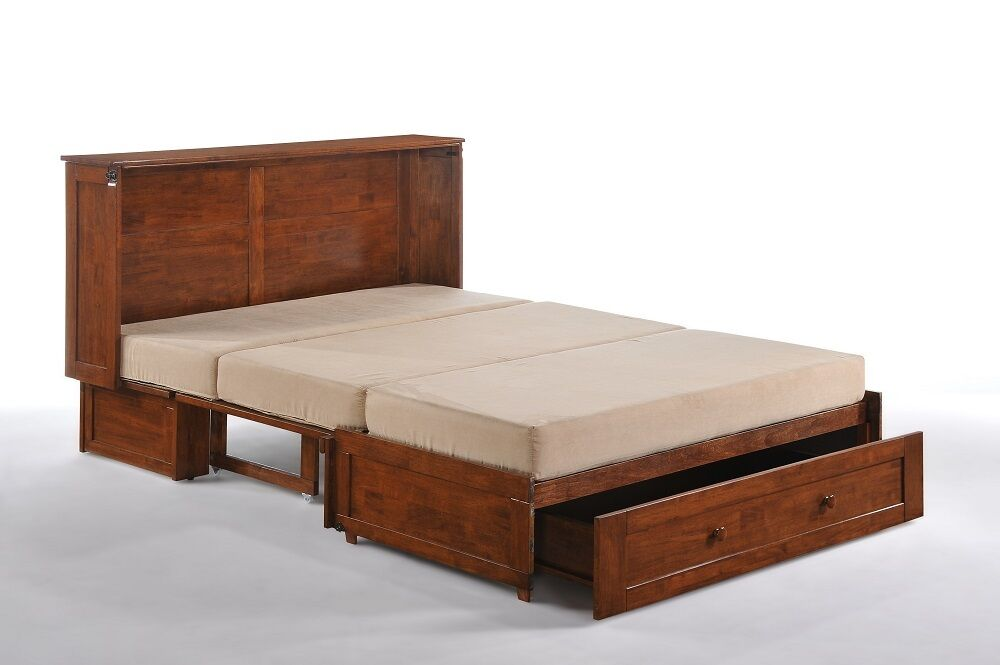 Day  Night Clover Murphy cabinet bed gel mattress cherry