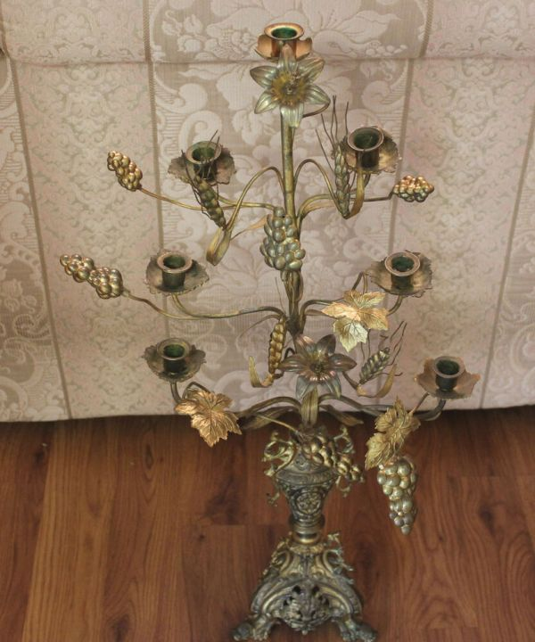 Antique Large French Candelabra Solid Brass Dragon Feet 7