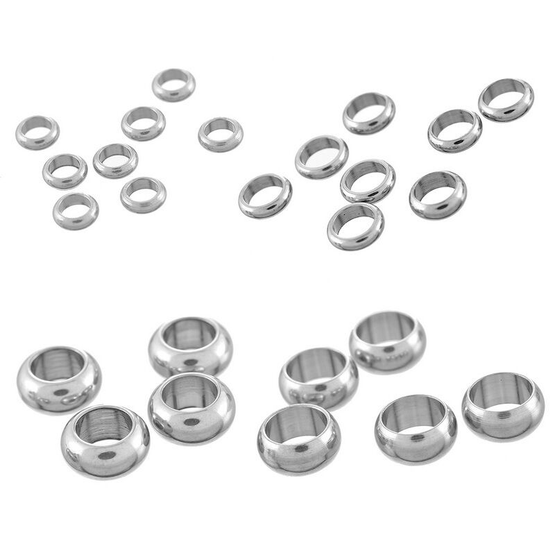 Stainless Steel Spacer Beads Rings Silver DIY Jewelry