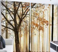Autumn CURTAIN PANEL Set Fall Trees Brown Leaves Living ...