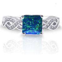 Infinity Celtic Princess Cut Dark Blue Fire Opal Genuine ...