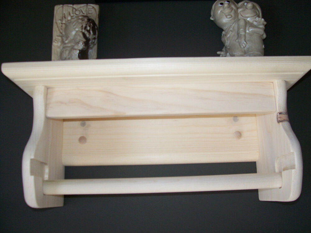 HAND MADE SOLID PINE PAPER TOWEL HOLDER WITH SHELF