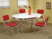 1950s STYLE CHROME RETRO DINING TABLE SET & RED CHAIRS