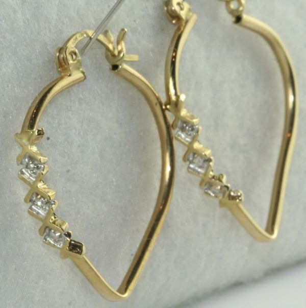 10k Gold Diamond Heart Hoop Earrings Hoops