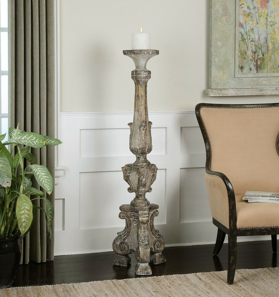 Oversize 57 Floor Candle Holder  Old World Tall