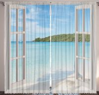 Island CURTAIN PANEL Set Beach Ocean View Patio Doors ...