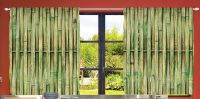 Bamboo Kitchen CURTAIN PANEL Set Slats Asian Sticks Fence