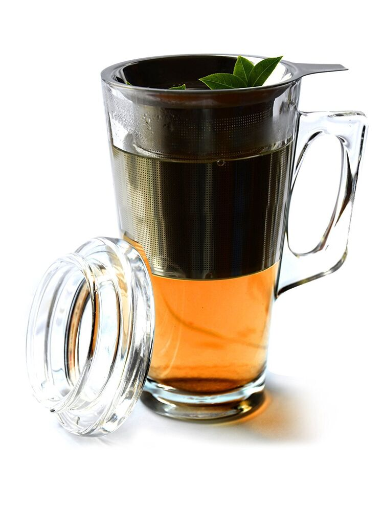 Glass Tea Mug With Stainless Steel Infuser Set Brew And
