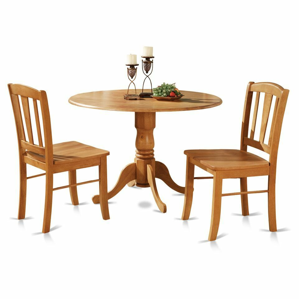 drop leaf kitchen table and chairs dining chair slip cover 3pc round pedestal 2 solid wood details about light oak