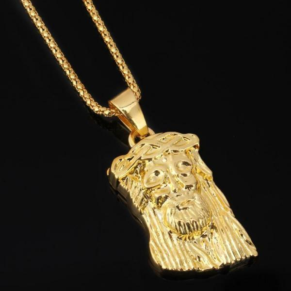 Mens Charm Hip Hop Chain 18k Gold Plated Necklace Jesus
