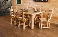 "Rustic White Cedar Log Family 72"" Dining Table Set with 6 ..."
