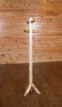 Rustic White Cedar Log Coat Tree/Rack/Stand