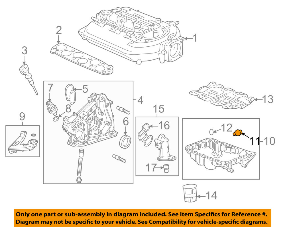 hight resolution of details about acura honda oem engine parts oil pan drain plug 90009r70a00