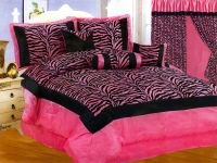 7-Pc Satin Hot Pink Black Flocking Zebra Pattern Comforter ...