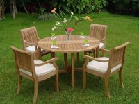 Giva 5-pc Outdoor Teak Dining Patio: 48 Butterfly Round ...
