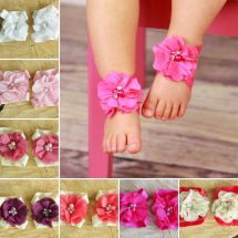 Baby Girl Barefoot Sandals Christening Wedding Soft Flower