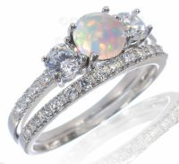 Round White Fire Opal Engagement Wedding CZ Sterling ...