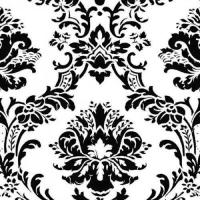 Black and White Victorian Damask Wallpaper BK32013 Double ...