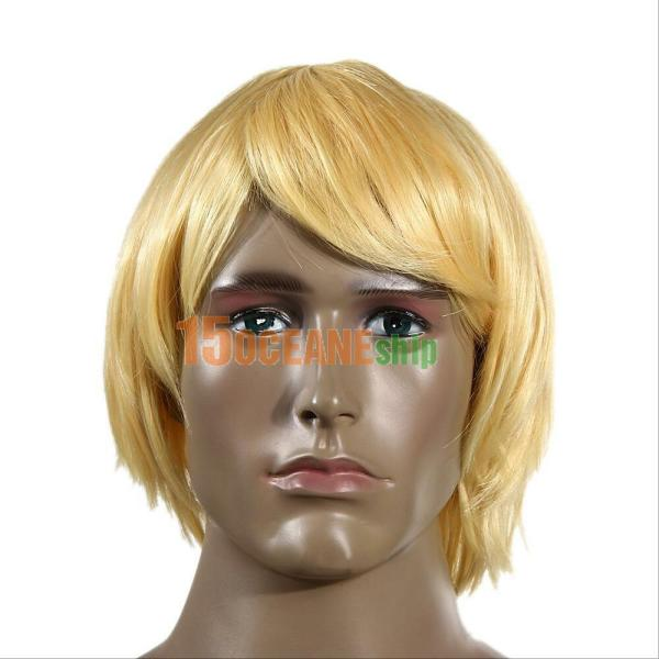 Fashion Men' Short Wig Blonde Male Hair Anime Cosplay
