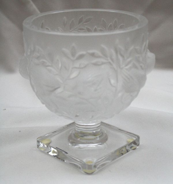 French Lalique Frosted Crystal Pedestal Vase With Bird