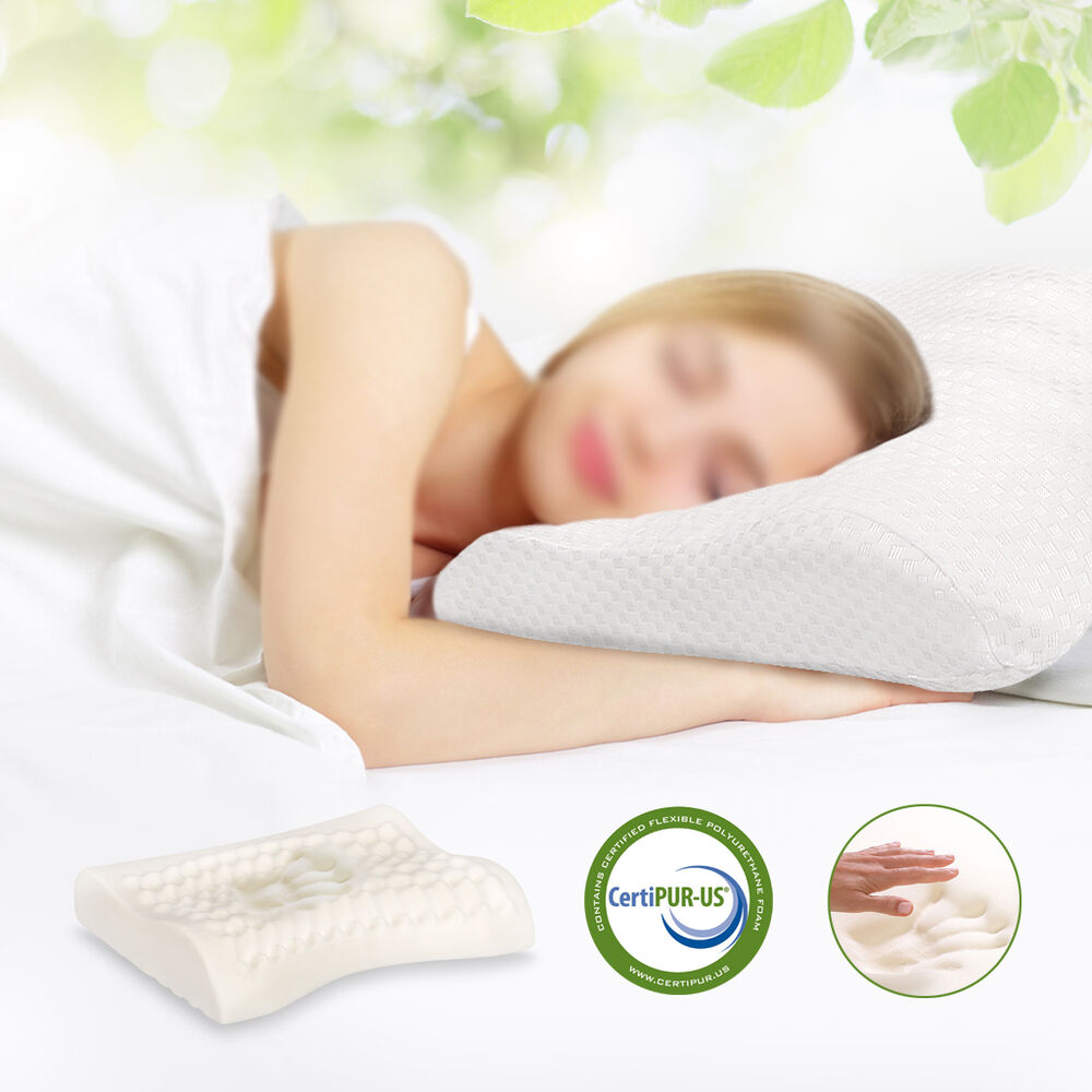217 Inch Curved Contoured Sleeping Memory Foam Pillow