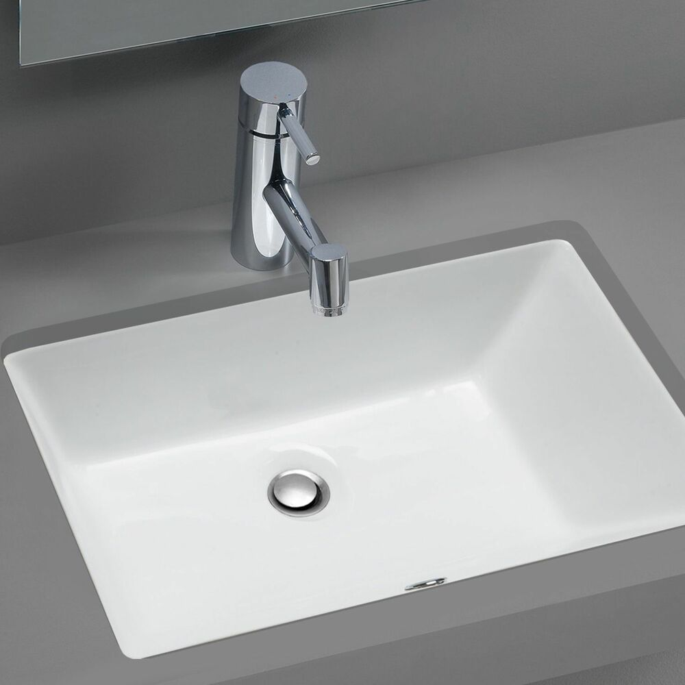 Stahl Ceramic Medium Undermount Rectangular Bowl Bath Sink  White NEW  eBay