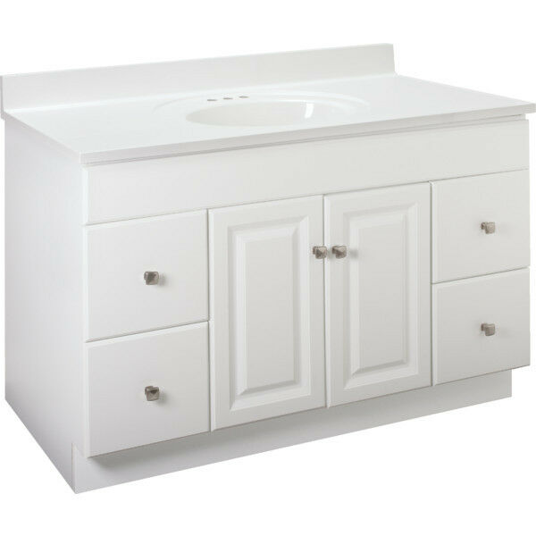 White Bathroom Vanity Cabinet 48 inches Wide x 21 inches