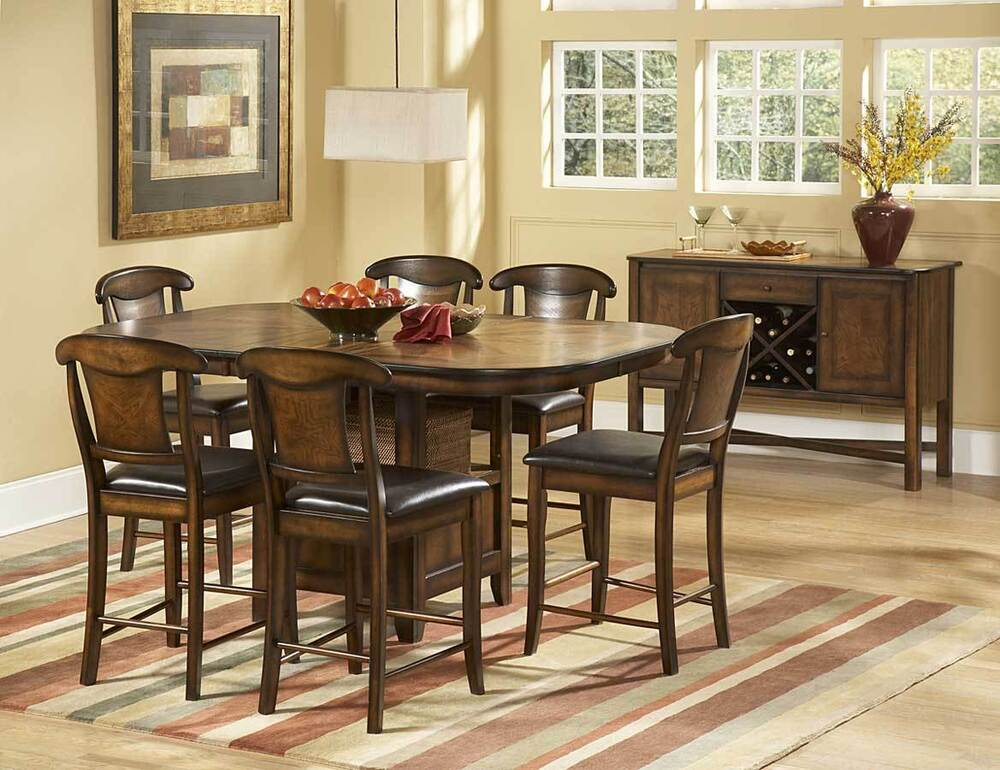 7 PC RUSTIC COUNTER HEIGHT BURNISHED OAK FINISH TABLE  CHAIRS DINING SET  eBay