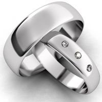 White Gold Diamond Set Band His and Hers set of Wedding ...