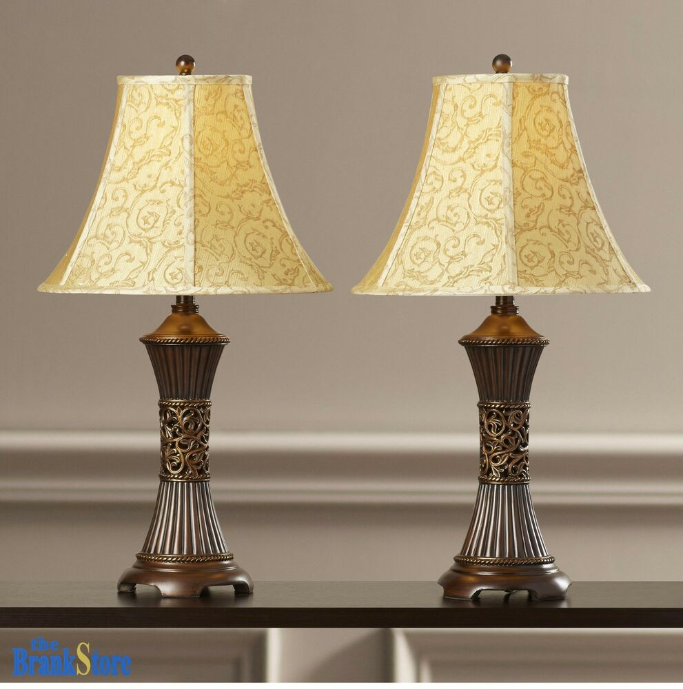 Table Lamp Set 2 Vintage Traditional Lamps Pair Shade