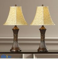 Table Lamp Set 2 Vintage Traditional Lamps Pair Shade ...
