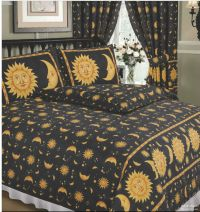DOUBLE BED DUVET COVER SET SUN AND MOON BLACK YELLOW GOLD ...