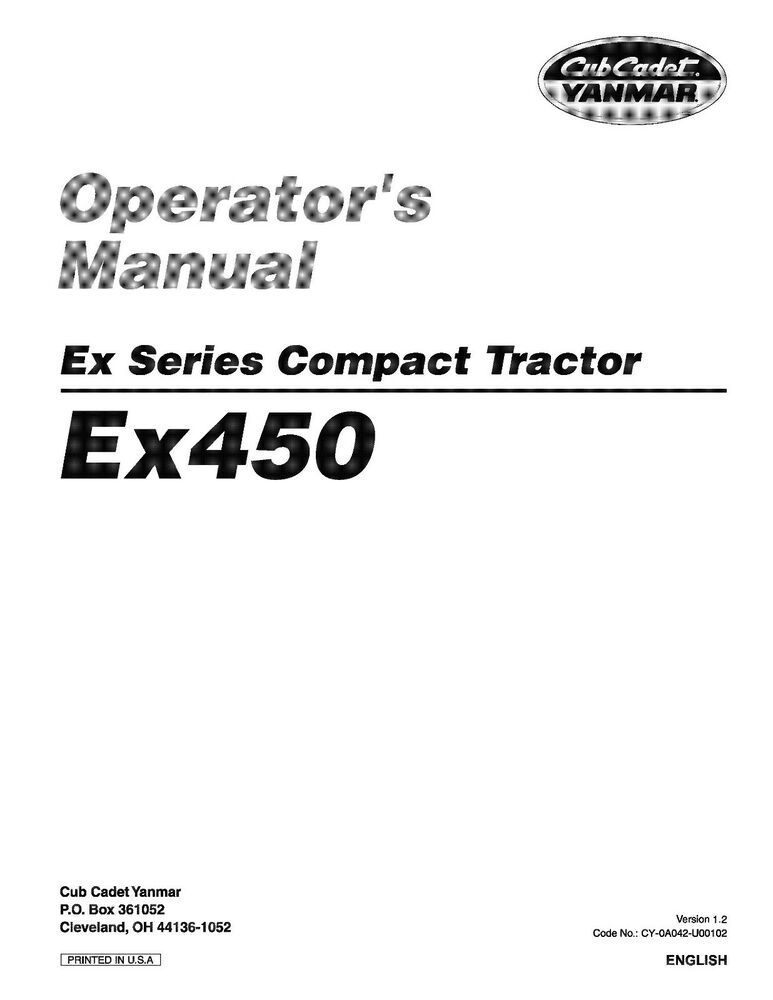 Cub Cadet Yanmar EX Series Operator's Manual Model EX450