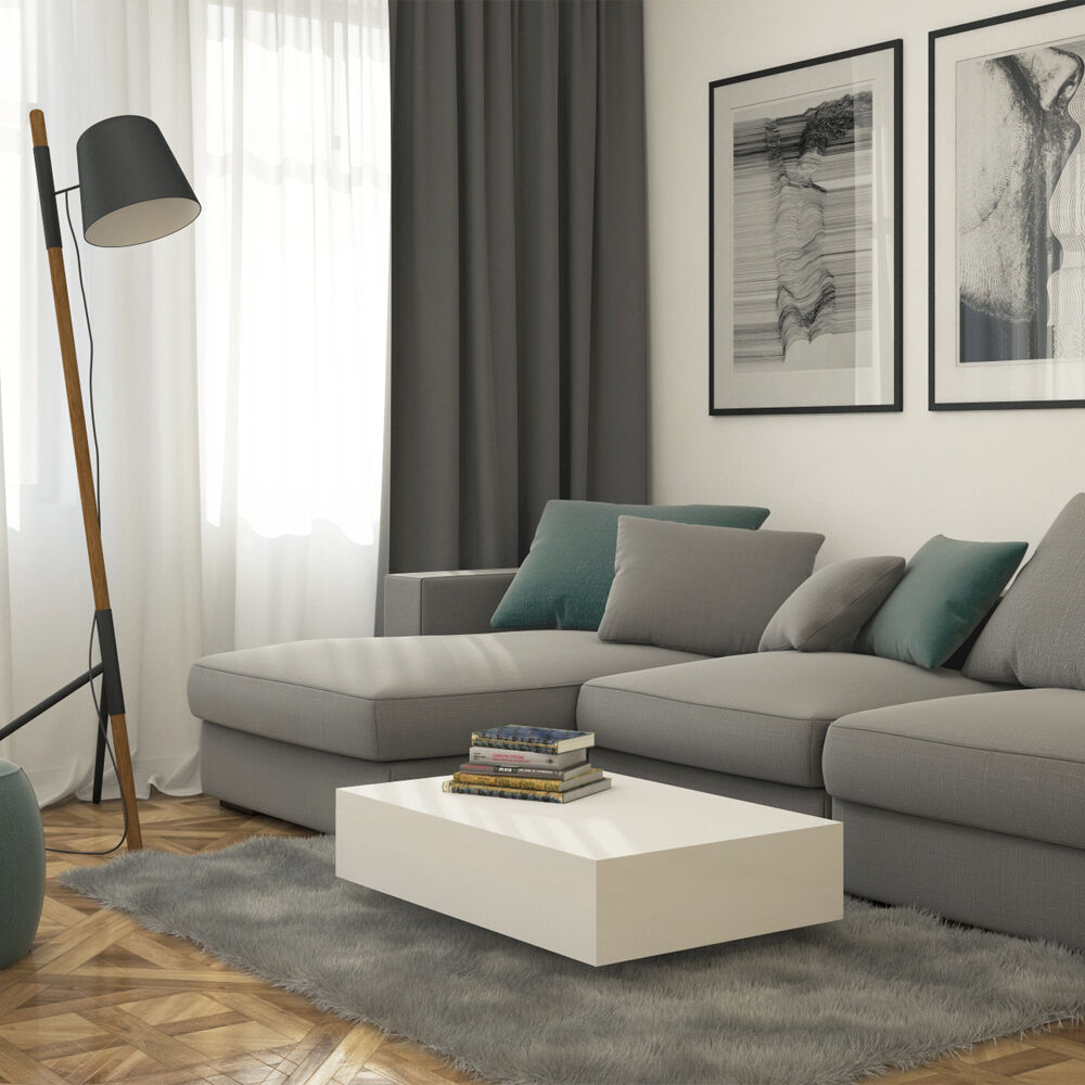 diy living room side tables with dark brown leather furniture modern high gloss levitating white rectangular coffee ...