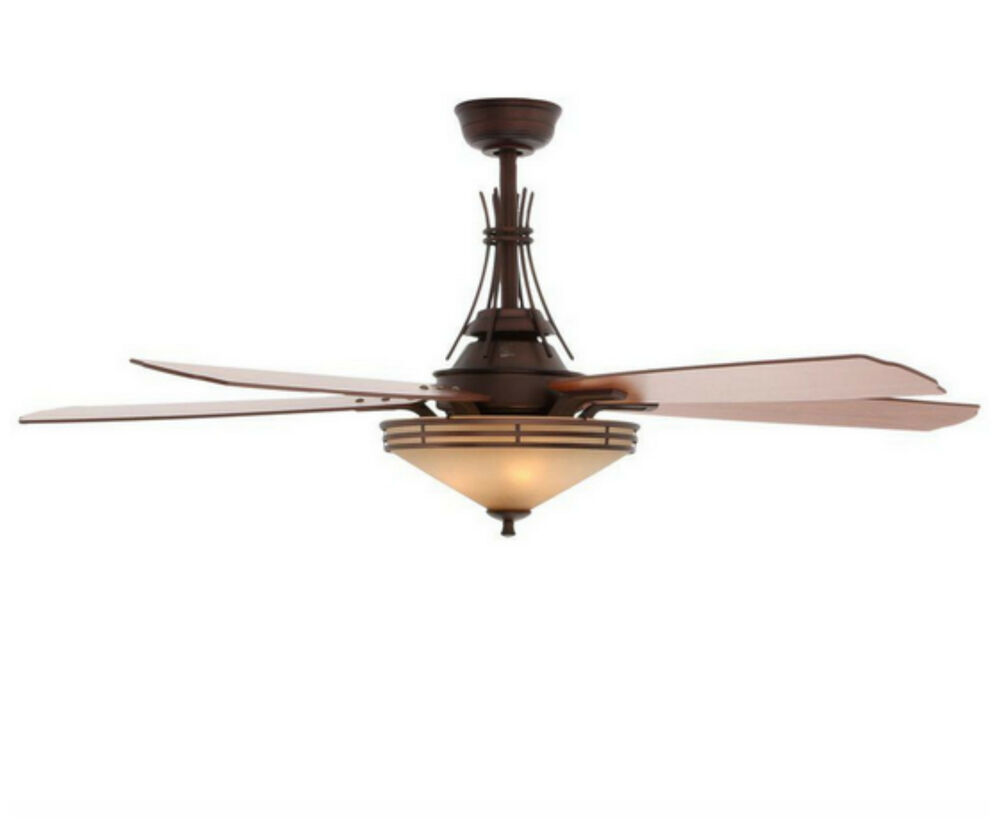 Indoor Modern Bronze Ceiling Fan with 3 Light Shades Kit