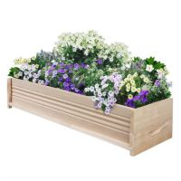 Large Cedar Wood Wooden Raised Planter Box Outdoor Window ...
