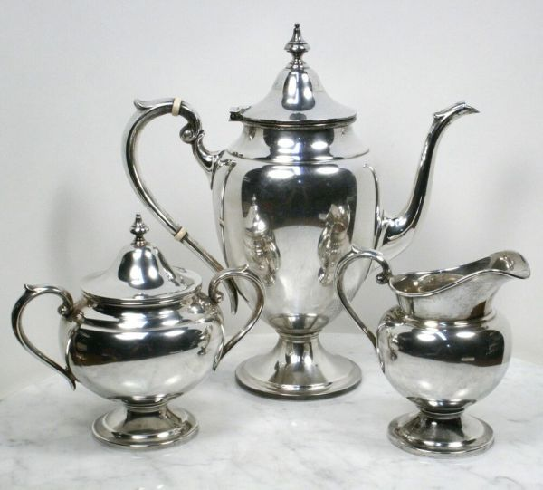 Antique Gorham Sterling Silver Tea Set. 3 Piece Teapot