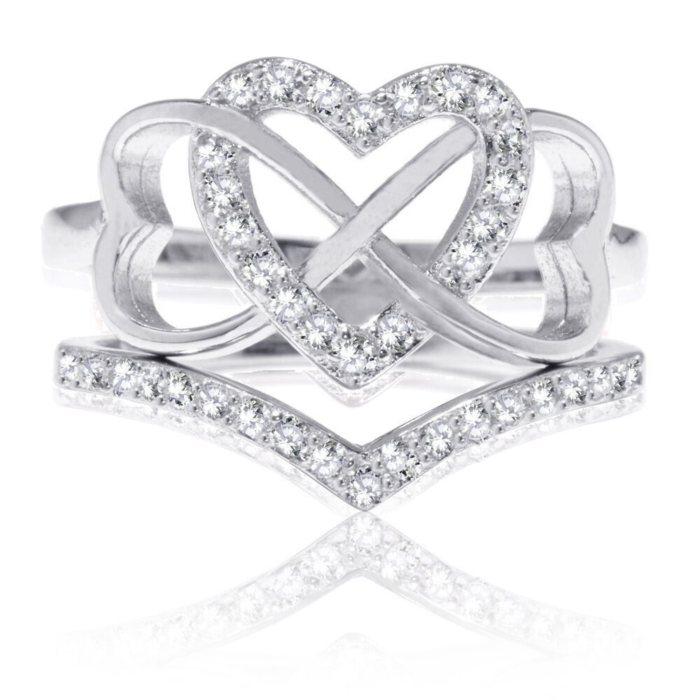 Beautiful Triple Heart Infinity Celtic CZ Wedding