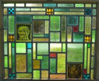 ANTIQUE STAINED GLASS WINDOW CHURCH AMERICAN ABSTRACT ART ...