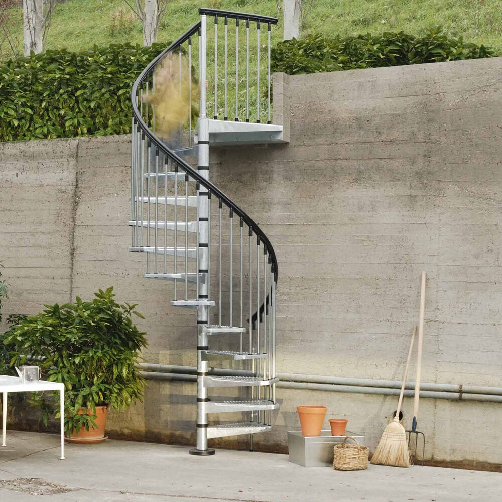 Arke Fontanot Civik Zink Spiral Staircase Kit Galvanised | Outdoor Spiral Staircase Cost