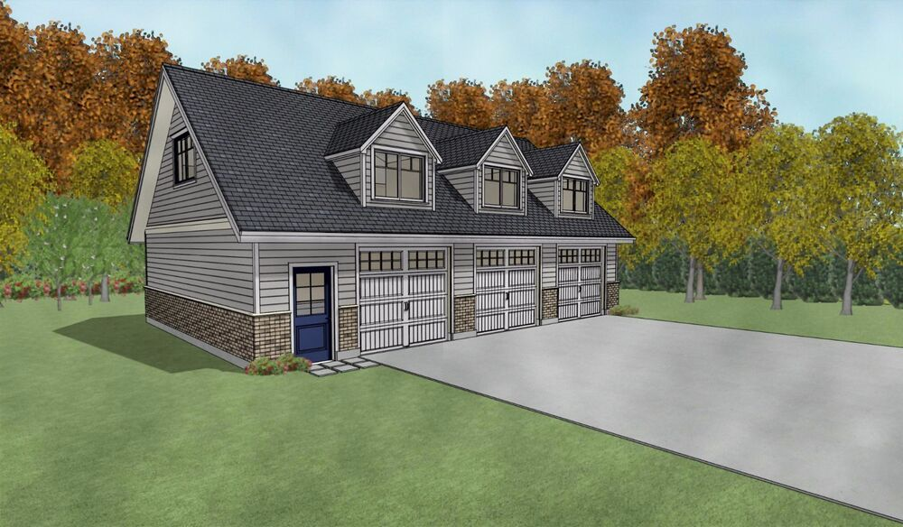 Triple Car / 3 Car Garage Architectural Plans / Blueprints