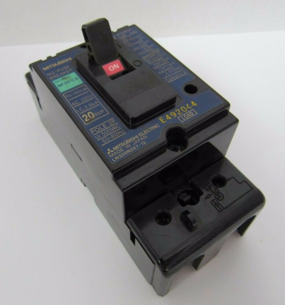 hight resolution of details about mitsubishi nf30 cs 20 amp pole 2p no fuse circuit breaker 500vac 50 60hz