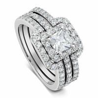 Womens 3.25 ctw PRINCESS CUT 925 Sterling Silver CZ ...