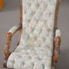 Victorian Parlor Chairs Round Back Chair Antique Walnut Platform Rocker John Jelliff With Carved Faces | Ebay